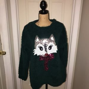 🌴 Time & Tru Green Sweater with Sequin Fox Sz L